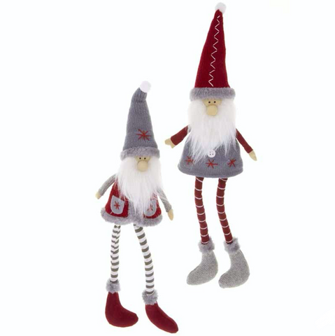 Fabric Sitting Santas with knitted hats and stripy legs