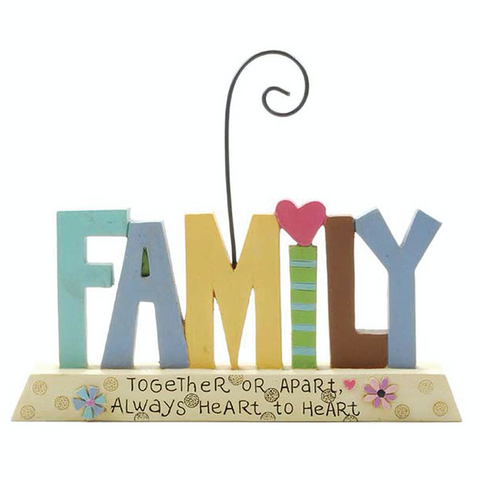 Family, together or apart, always heart to heart, freestanding plaque