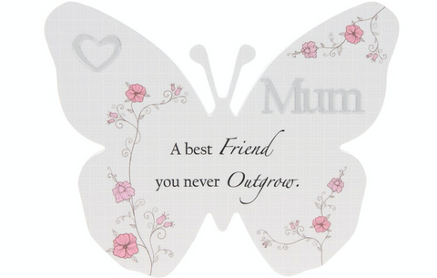 Mum, Floral Reflect Butterfly Plaque