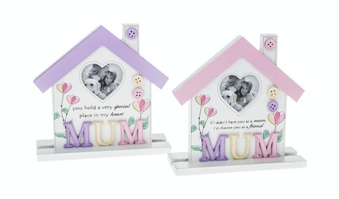 Mum, Floral Style House Photo Frame / Plaque