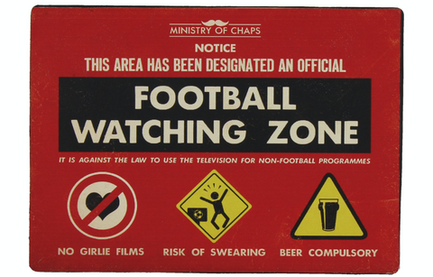 Football Watching Zone, novely metal sign