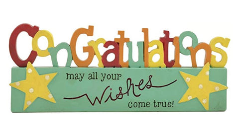 Congratulations, resin freestanding plaque - may all your wishes come true