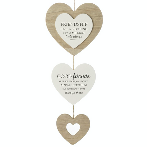Hanging Wooden Triple Heart - Friendship and Good Friends
