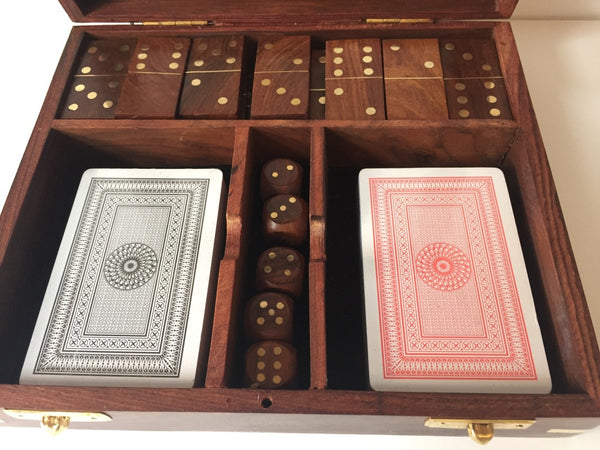 Playing Cards Dice And Dominoes In Wooden Box Bits Bobs