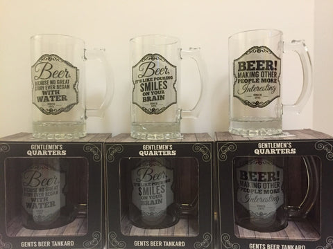 Gentlemen's Quarters Glass Beer Tankards