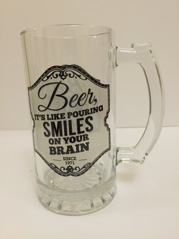 "Gentlemen's Quarters Beer Tankard ""Beer, it's like pouring smiles on your brain"""