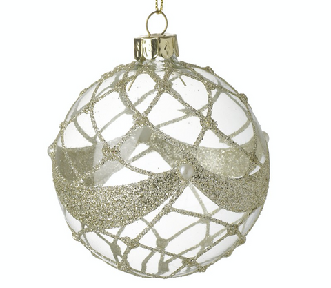 Detailed Clear Glass Bauble Decoration with intricate gold glitter detail