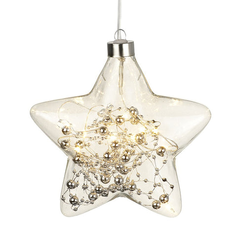 Glass Hanging LED Silver Star - Lit (includes on/off switch)