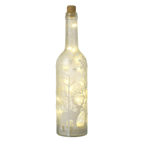 LED, Traditional Frosted Glass Bottle with Reindeer winter scene - lit