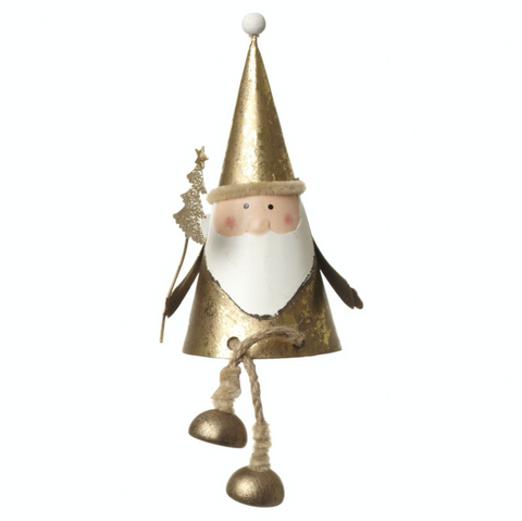 Gold Metal Sitting Santa with dangly legs