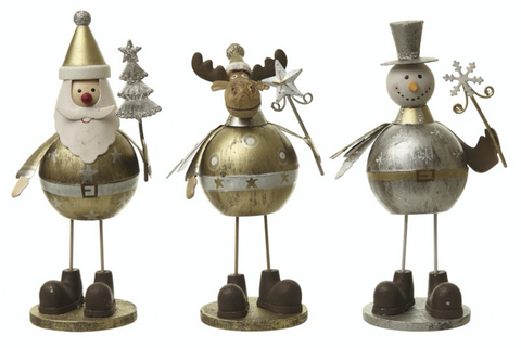 Gold, metal standing Santa, Reindeer and Snowman, Heaven Sends