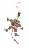 Wooden Santa & Snowman Jumping Jack Decorations - Green Santa