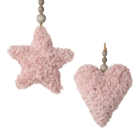 Pink, Silky Soft, Fabric Hanging Heart and Star Decorations