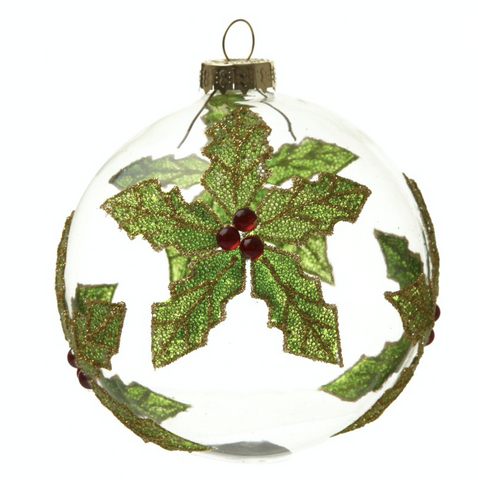 Hanging Glass Bauble with a Holly Leaf design