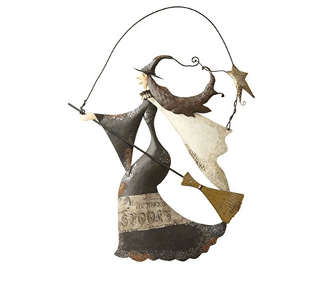 Hanging Metal Witch with Broomstick decoration