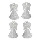 Hanging, Small Glass Frosted Angels, tree decorations