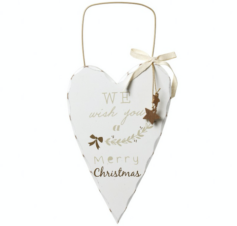 "Shabby Chic, Hanging ""We Wish You"" Wooden Heart"