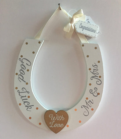 Hanging, Wooden Wedding Horseshoe - Gold Heart