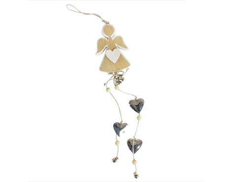 Hanging Wooden Angel Decoration with silver bells and heart charms
