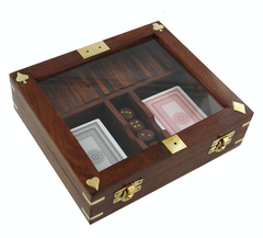Harvey makin playing cards dice dominoes in wooden box grande