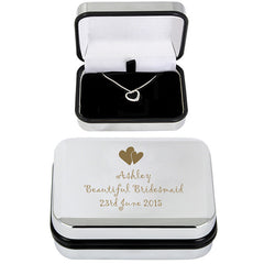 Heart necklace and personalised box bridesmaid grande