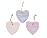 Heart shaped wood mothers day signs
