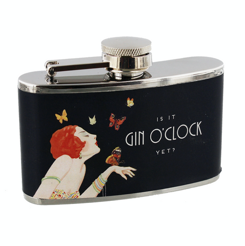 Ladies, Hip Flask, Is it Gin O'clock Yet?