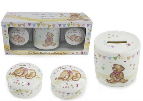 Little Bear Hugs Collection Gift Set (First Curl, First Tooth & Money Box)