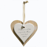 Shabby Chic Double Heart, Love you all the way to the Moon and back again