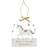 "Unicorn Hanger ""Believe in the magic of Christmas"""