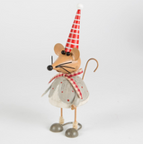 Mauricio Xmas Mouse in Stripy Hat Standing Dec - side view