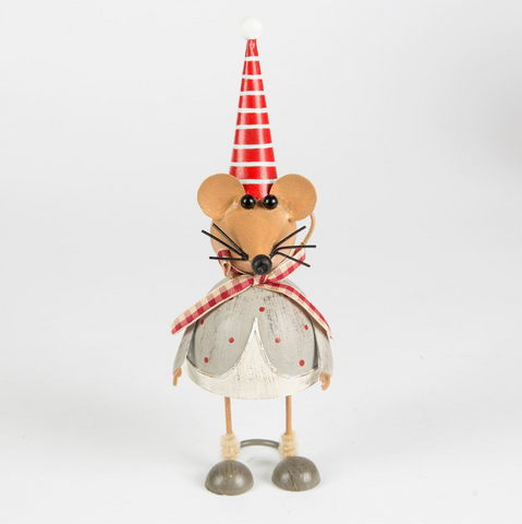 Mauricio Xmas Mouse in Stripy Hat Standing Dec