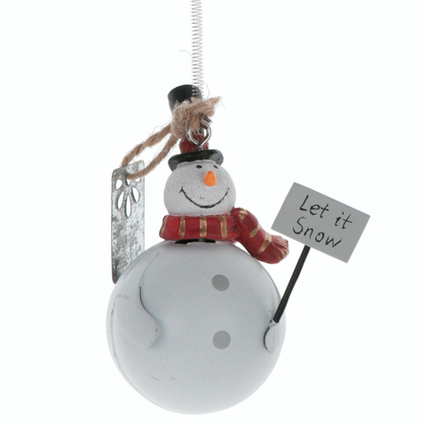 Metal, Hanging Snowman on a Spring, tree decoration