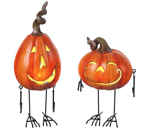 Metal and Resin LED Light up Pumpkins