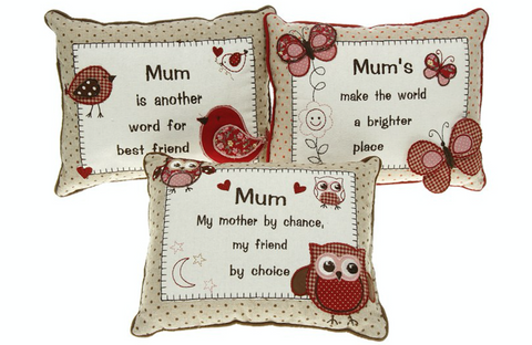 Mum, Sentiment Embroidered Cushion