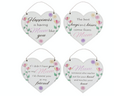 Mum, floral hanging heart plaques