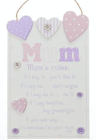 Mum's Rules Hanging Plaque