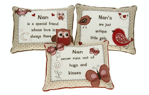 Nan Embroidered Sentiment Cushion