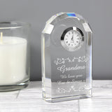 Personalised Heart Swirl Crystal Clock, PMC
