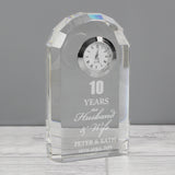 Personalised Anniversary Crystal Clock - 10 years