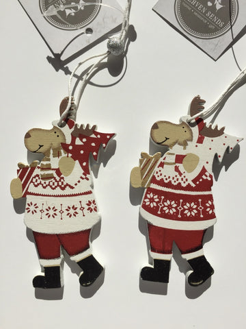 Pair of Wooden Hanging Reindeers by Heaven Sends