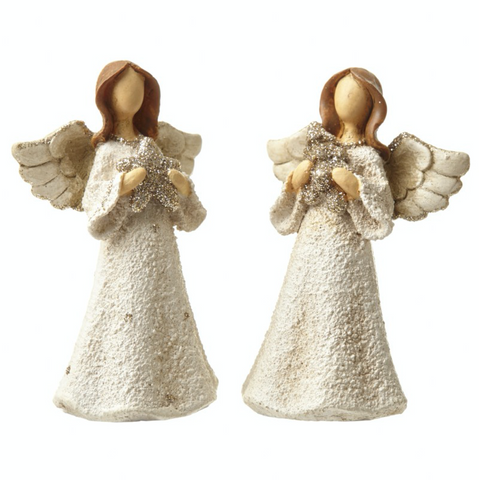 pair of small polyresin angel decorations