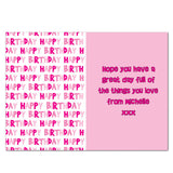 Personalised card, pink text happy birthday
