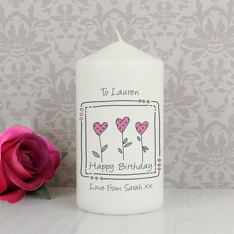 Personalised 3 heart candle