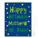 Personalised card, blue star happy birthday