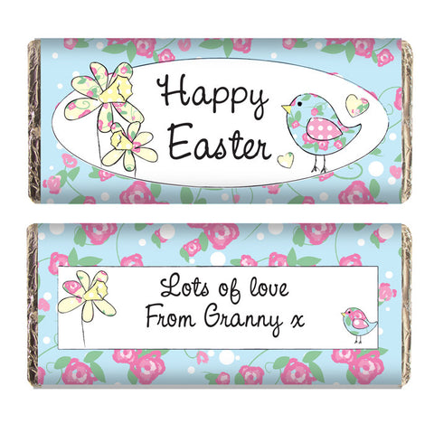 Personalised Easter chocolate bar, Daffodil & Floral Chick