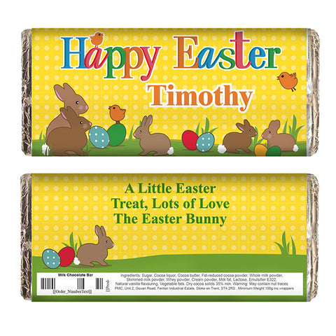 Personalised Easter chocolate bar, Easter Bunny
