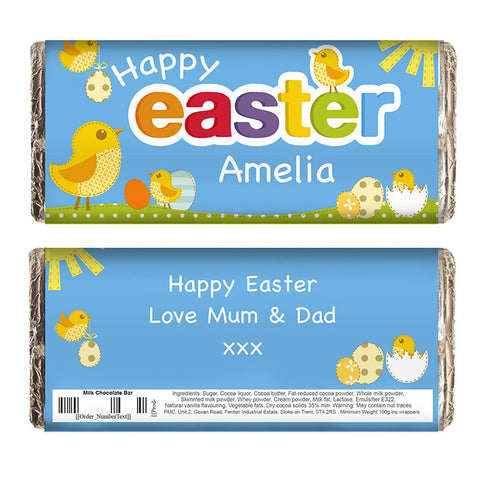 Personalised Easter chocolate bar, Easter Chicks
