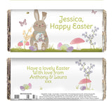 Personalised Easter chocolate bar, Easter Meadow Bunny