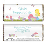 Personalised Easter chocolate bar, Easter Meadow Chick